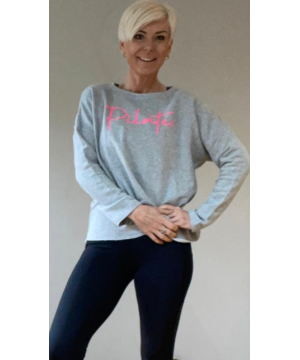 Step n Pump Essentials Luxe Heather Grey- Pink  Pilates Top