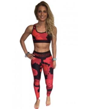 Combat Dollies Full Red Multicamo Fitness Leggings