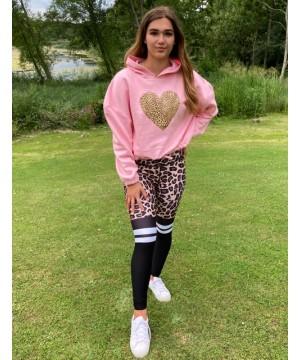 Step n Pump Essentials Baby Pink Leopard Heart Hoodie