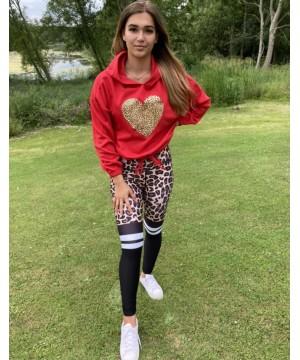 Step n Pump Essentials Red Leopard Heart Hoodies