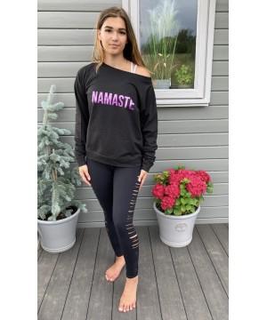 Step n Pump Essentials Black Namaste SloungeTop with Purple Logo