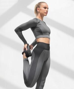 Step n Pump Essentials Seamless Charcoal Grey- Black Long Sleeve Top