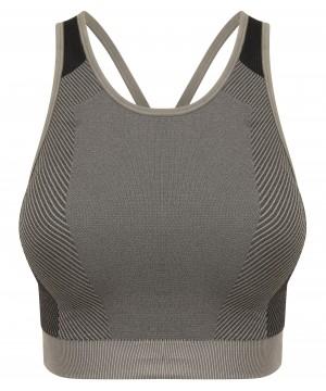 Step n Pump Essentials Seamless Charcoal Grey / Black Padded Crop Top