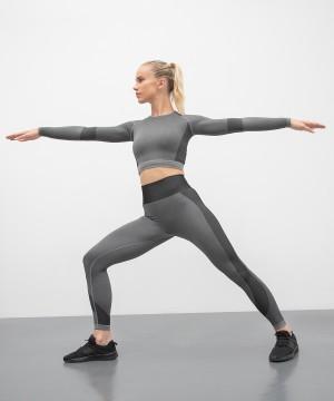 Step n Pump Essentials Seamless Panelled Grey-Black Leggings