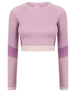 Step n Pump Essentials Seamless Light Pink/Purple Long Sleeve Top