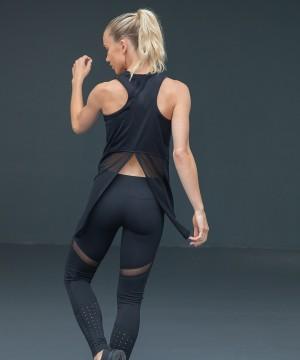 Step n Pump Essentials Black Open Back Vest With Mesh Detail