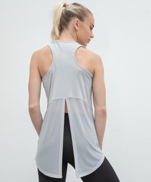 Step n Pump Silver Grey Open Back Vest with Mesh Detail