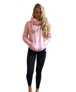 Step n Pump Essentials Baby Pink With Black Cross Neck Cosy Hoodie