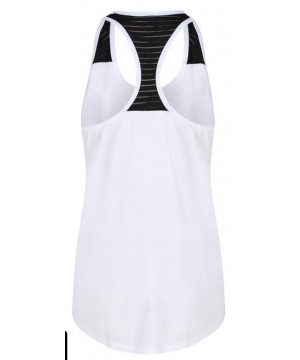 Step n Pump Essentials White Loose Fit Vest  Top With Black Mesh Panel Racer Back