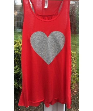 Step n Pump Essentials Red Glitter Heart Flowy Vest Top