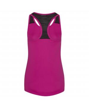 Step n Pump Essentials Hot Pink Loose Fit Vest  Top With Black Mesh Panel Racer Back