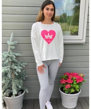 Step n Pump Essentials  Ivory White - Neon Pink Lotus Flower Yoga Top