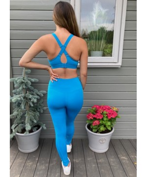 Step n Pump Essentials Turquoise Blue Core Performance Bra Top