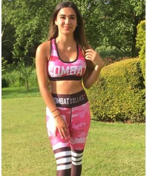Combat Dollies Pink Camo Sports Bra