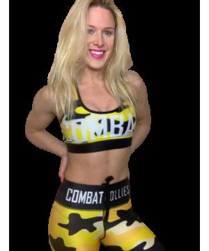 Combat Dollies Yellow Camo Sports Bra
