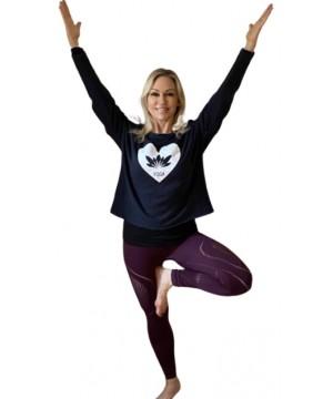 Step n Pump Essentials  Navy - white Lotus Flower Yoga Top