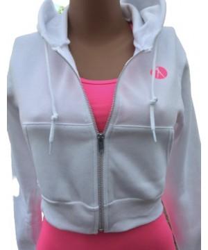 Step n Pump Essentials Signature White- Neon Pink Crop Zip Hoodie