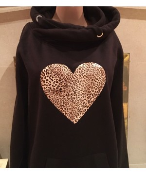 Step n Pump Essentials Black With Leopard Heart Cross Neck Hoodie