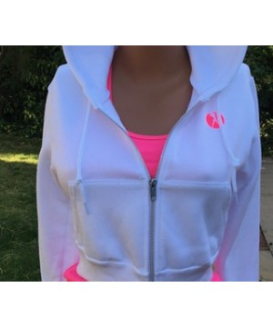 Step n Pump Essentials Signature White- Neon Pink Crop Zip Hoodie