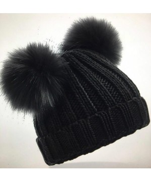 Step n Pump Essentials Junior Black or Grey Faux Fur Double Pop Pom Beanie
