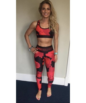 Combat Dollies Full Red Multicamo Fitness Leggings