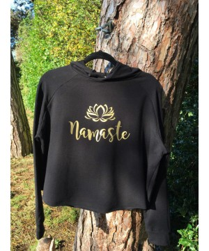 Step n Pump Essentials Black-Gold Namaste Cross Back Hoodie
