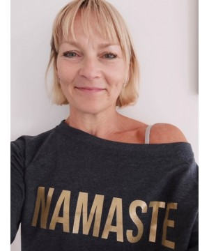Step n Pump Essentials Navy Marl Namaste Slounge Top With Gold Logo
