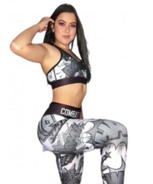 Combat Dollies Black and White Comic Fitness Leggings