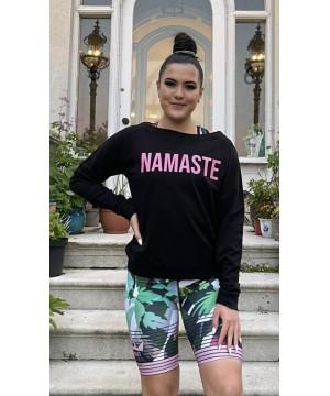 Step n Pump Essentials Black Namaste Slounge Top With Pink Logo