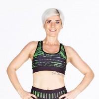 Combat Dollies Green Swirl Sports Bra