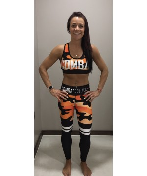 Combat Dollies Orange Camo Stripe Fitness Leggings