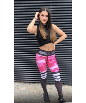 Combat Dollies Pink Camo Stripe Fitness Leggings