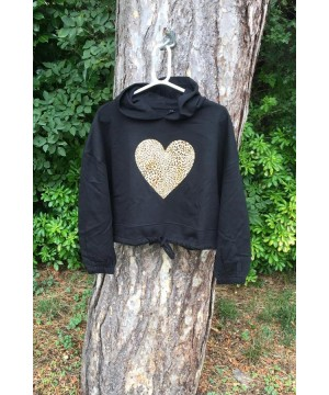 Step n Pump Essentials Black Leopard Heart Hoodie