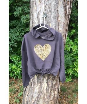 Stepnpump Essentials Charcoal Grey Leopard Heart Hoodie