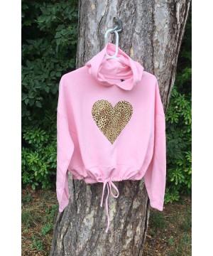 Stepnpump Essentials Baby Pink Leopard Heart Hoodie