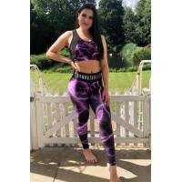 Combat Dollies Full Purple Lightning Fitness Leggings