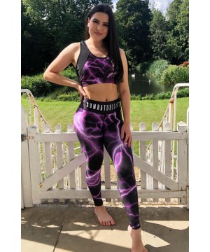 Combat Dollies Full Purple Lightning Fitness Leggings