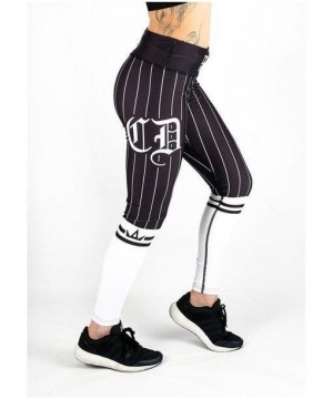 Combat Dollies White on Black Baseball Fitness Leggings