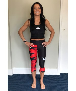 Combat Dollies Red Camo Fitness Capri