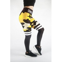 Combat Dollies Yellow Camo Stripe Fitness Leggings