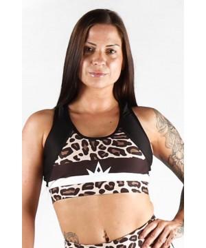 Combat Dollies Leopard Print Half Mesh Sports Bra