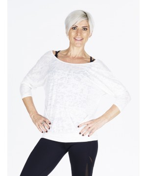 Denichi C10 White Burnout Slouch Top