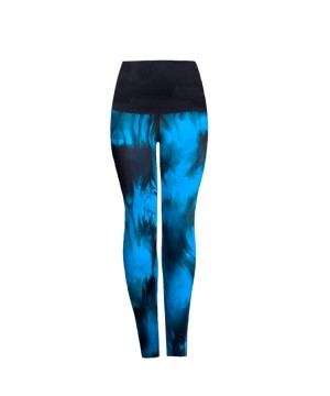 Posto9 High Waist Roll Down Blue Indigo Tie Dye Legging