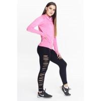 Step n Pump Essentials Cowl Neck Long Sleeve Top - Electric Pink