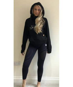 Step n Pump Essentials Black With Embroidered White Cross Neck Cosy Hoodie