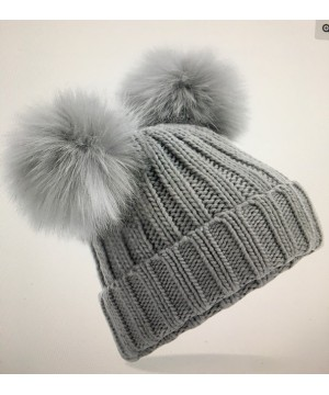 Step n Pump Essentials Adults Silver Grey Faux Fur Double Pop Pom Beanie