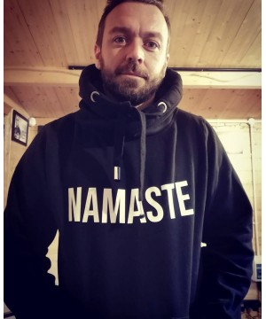 Step n Pump Essentials Unisex Black With White Namaste Cross Neck Cosy Hoodie
