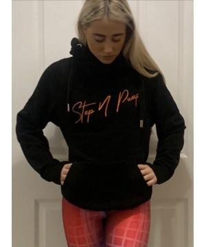 Step n Pump Essentials Black With Neon Orange Cross Neck Cosy Hoodie