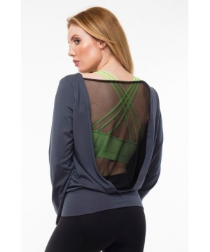 Step n Pump SP274A Mesh Back Long Sleeve Top