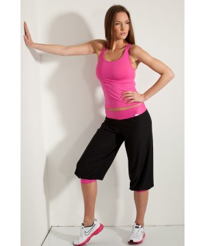 Step n Pump SP161C Black Harem Pants with Contrast Flat Waistband and Cuff To Leg